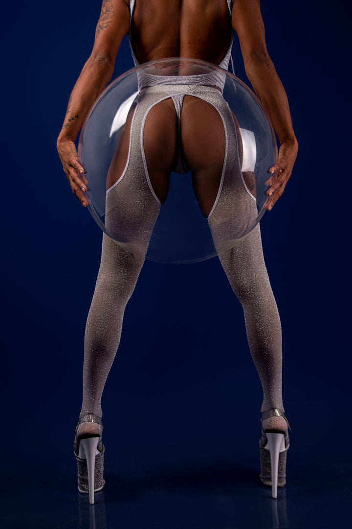 Rolling Stardust Peek-a-boo Tights - Silver (3 Sizes Available)-Rolling-Pole Junkie