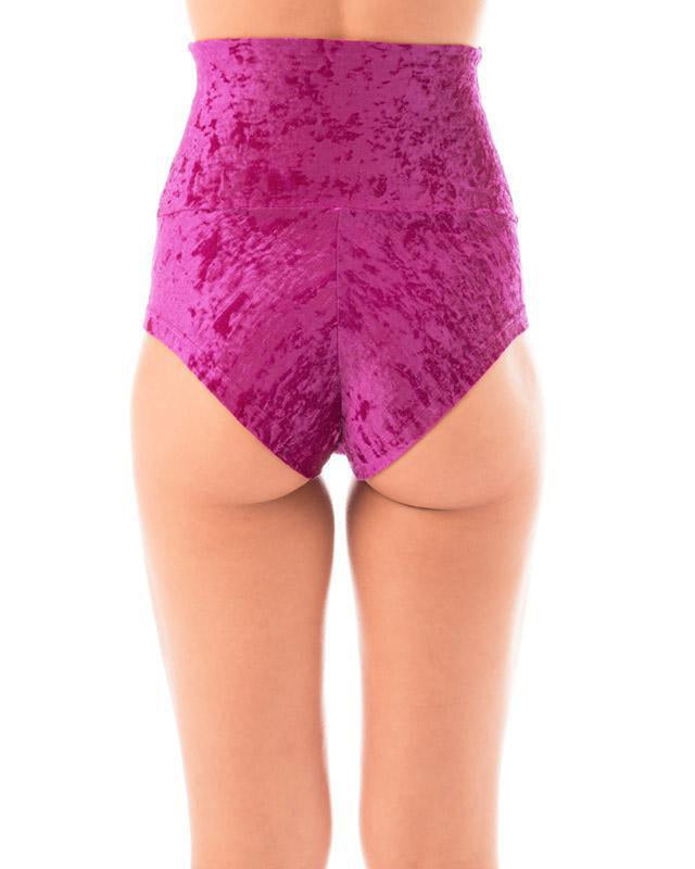 Dragonfly Velvet Betty High-Waisted Shorts - Ruby-Dragonfly-Pole Junkie