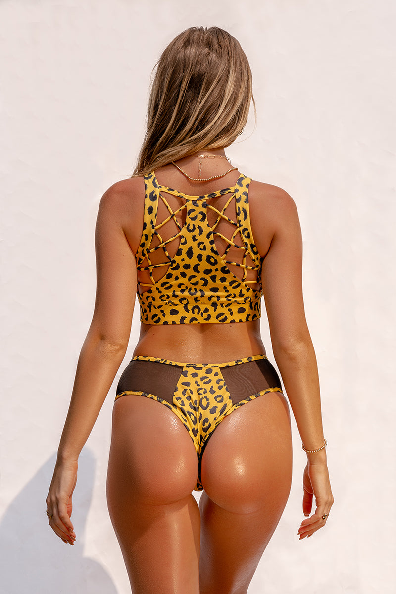 Creatures of XIX SAFARI Cheeky Bottoms - Yellow Leopard-Creatures of XIX-Pole Junkie