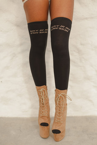 """Sexy in my own Skin"" Over the Knee Socks (3 Sizes)-Rolling-Pole Junkie"