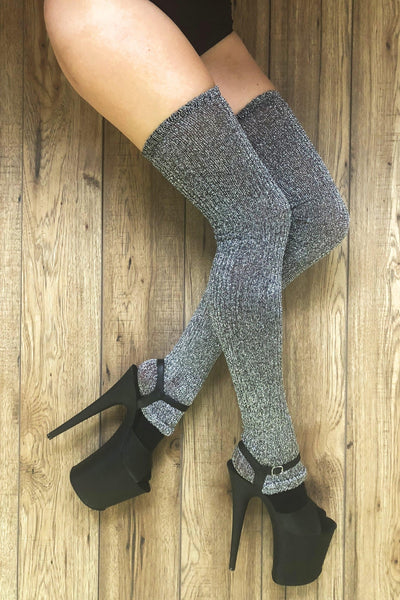Silver Sparkle Thigh High Leg warmers-Rolling-Pole Junkie