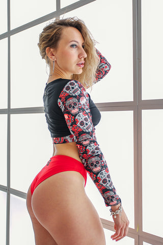 Long Sleeve Top - Sugar Skulls-Shark Polewear-Pole Junkie