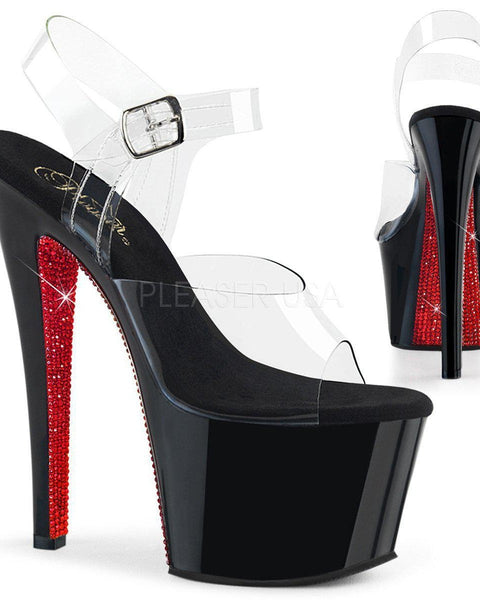 Sky-308CRS 7inch Pleasers - Black with Red Rhinestone Sole-Pleaser USA-Pole Junkie