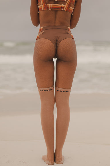 "Rolling ""Sunday Bumday"" Over the Knee Socks - Caramel (3 Sizes Available)-Rolling-Pole Junkie"