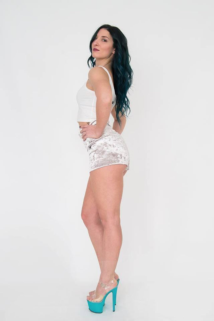 Velvet Juicy Shorts - Silver-Paradise Chick-Pole Junkie