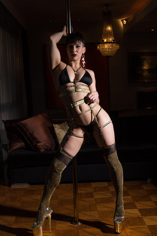D'Or Gold Over the Knee Socks-Rolling-Pole Junkie