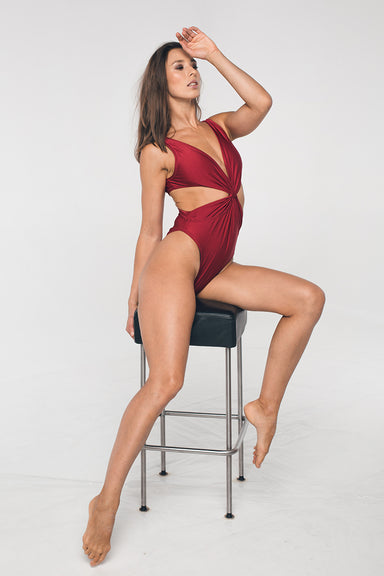 Shark Polewear Twist Bodysuit - Wine-Shark Polewear-Pole Junkie