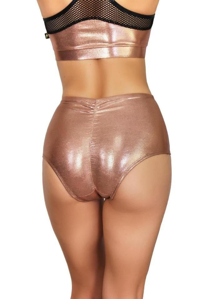 Cleo the Hurricane Metallic High Waisted Shorts - Rose Gold-Cleo the Hurricane-Pole Junkie