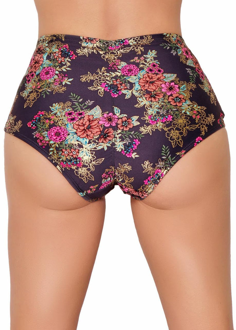 Cleo the Hurricane Gunmetal Garden High Waisted Shorts-Cleo the Hurricane-Pole Junkie