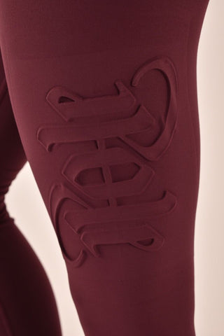 Embossed Leggings - Burgundy-Off The Pole-Pole Junkie