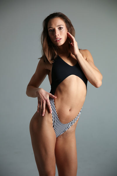 Vashkelita Bodysuit - Black/Striped-Shark Polewear-Pole Junkie
