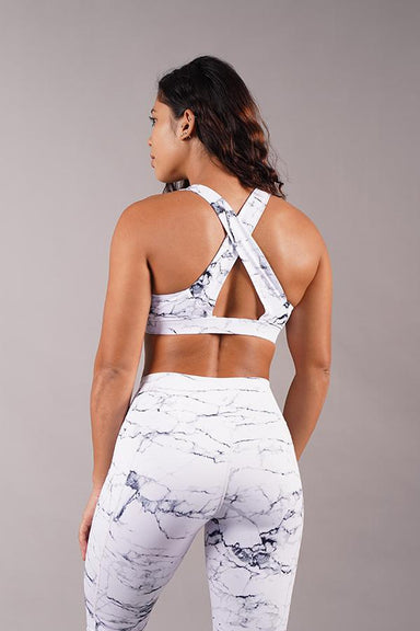 Off The Pole V-Neck Sports Bra - White Marble-Off The Pole-Pole Junkie