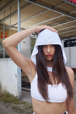 Hooded Exotic Top - White-Hamade Activewear-Pole Junkie