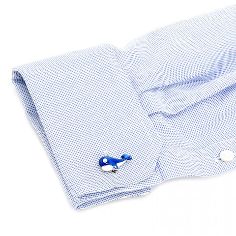 Handcrafted Italian Blue Whale Cufflinks