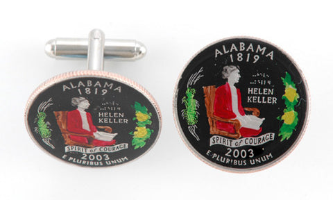 Hand Painted Alabama State Quarter Cufflinks