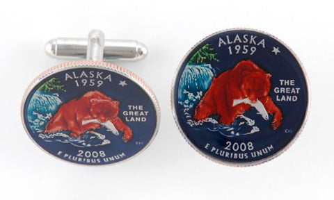 Hand Painted Maine State Quarter Cufflinks