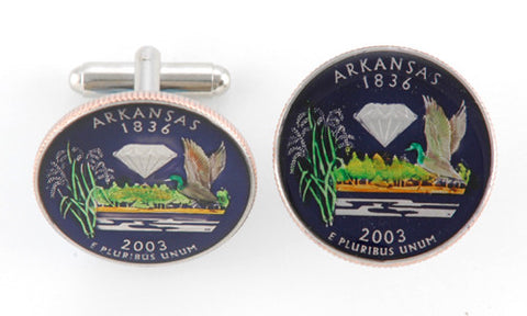 Hand Painted Connecticut State Quarter Cufflinks
