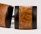 Afzelia Burl & Ebony Wood Cufflinks
