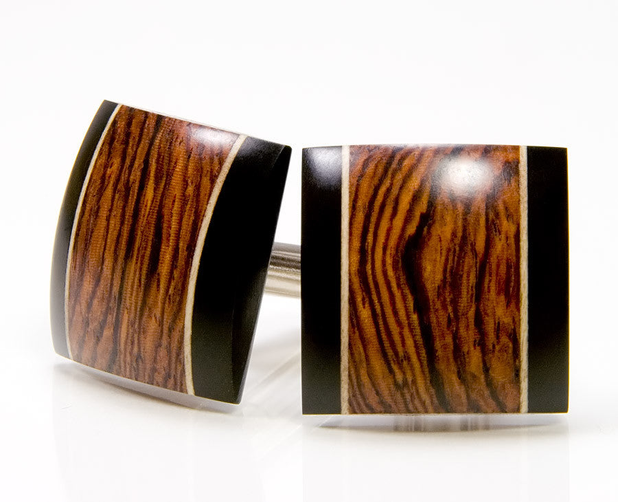 Honduran Rosewood, Ebony, Holly Wood Cufflinks
