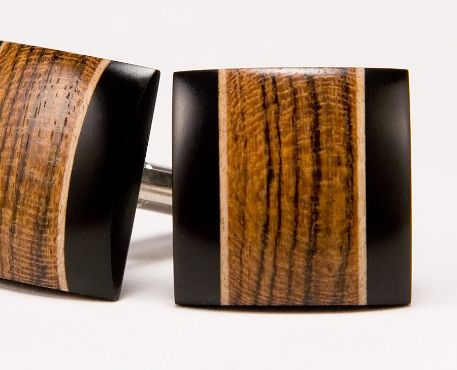 Bocote, Ebony, Holly Wood Cufflinks