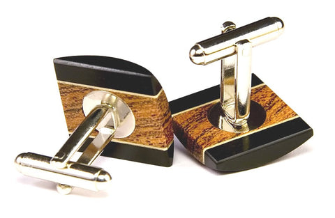 Amboyna, Ebony, Holly Round Wood Cufflinks