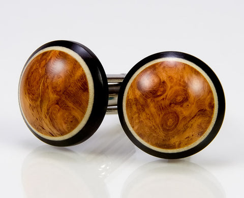 Bloodwood, Ebony, Holly Wood Cufflinks