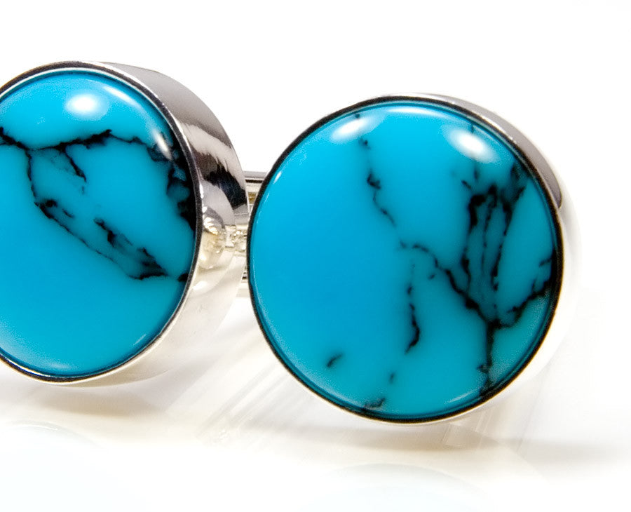 Persian Turquoise True Stone Silver Round Overlay Cufflinks