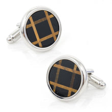 Polished Silver Onyx and Tigers Eye Grid Cufflinks