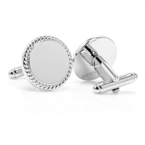 Stainless Steel Round Engravable Cufflinks