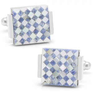Floating Lapis and Mother of Pearl Checkered Cufflinks