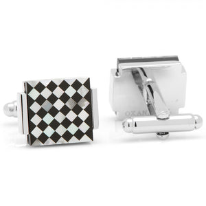 Floating Onyx and Mother of Pearl Checkered Cufflinks