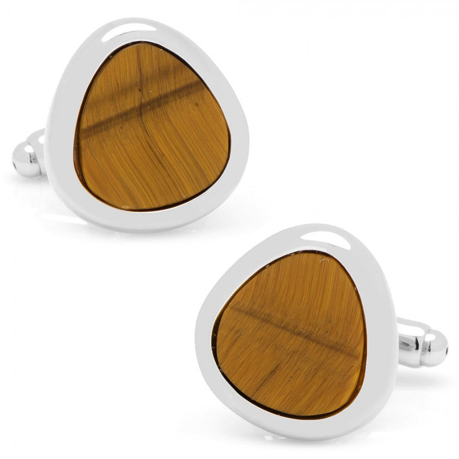 Organic Teardrop Tiger's Eye Cufflinks
