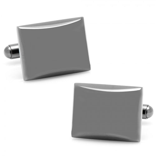 Black Stainless Steel Rectangular Domed Cufflinks