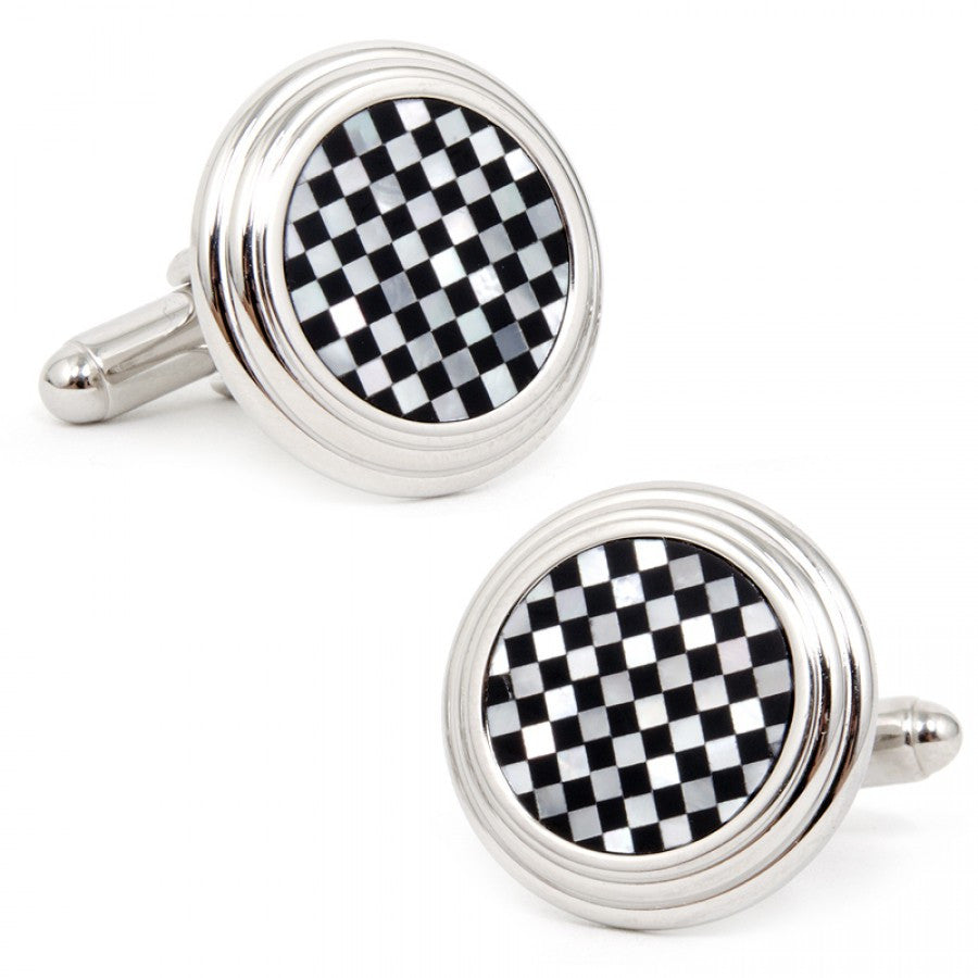 Onyx and Mother of Pearl Checker Step Cufflinks