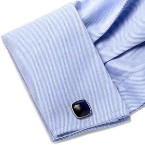 Navy Blue Fiber Optic Cushion Cufflinks