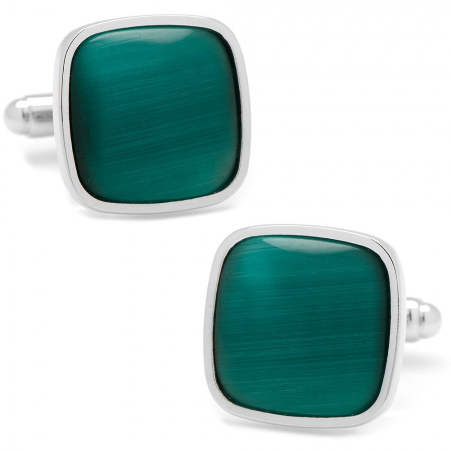 Emerald Green Fiber Optic Cushion Cufflinks