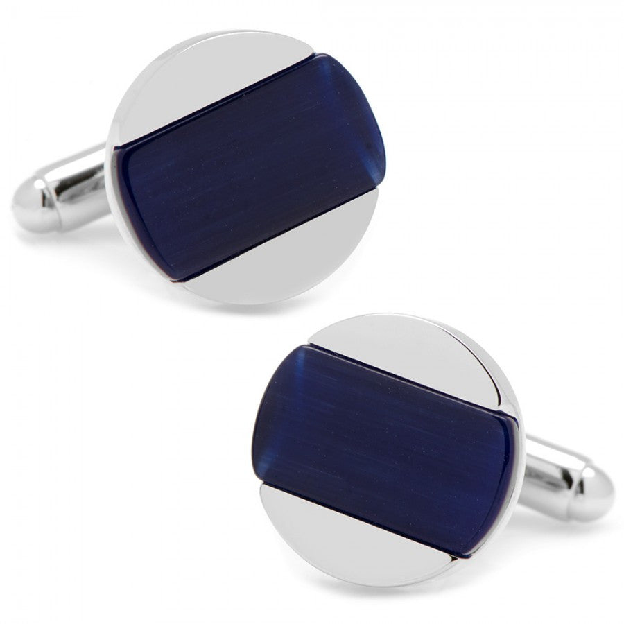 Inlaid Navy Blue Catseye Disc Cufflinks