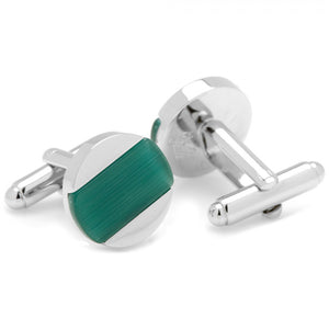 Inlaid Emerald Green Catseye Disc Cufflinks