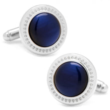 Navy Blue Catseye Etched Border Cufflinks