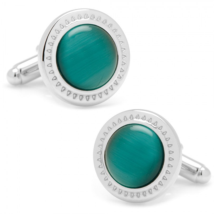 Emerald Green Catseye Etched Border Cufflinks