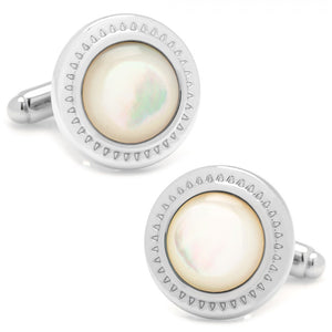 Mother of Pearl Etched Border Cufflinks
