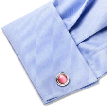 Pink Catseye Etched Border Cufflinks