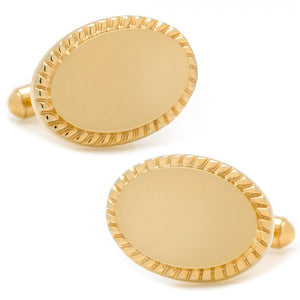 14K Gold Plated Rope Border Oval Engravable Cufflinks