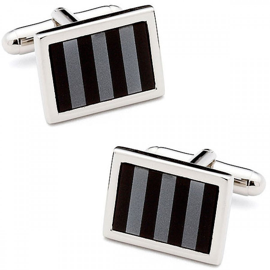 Onyx and Hematite Striped Mosaic Cufflinks