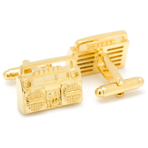 Gold Retro Boombox Cufflinks