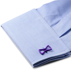 Cool Cut Purple Bow Tie Cufflinks