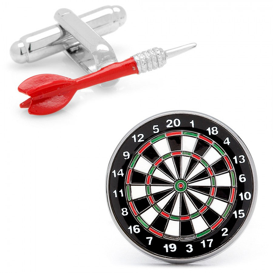 Red Dart and Dart Board Cufflinks