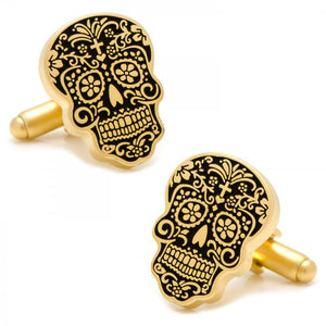 Gold Day of the Dead Cufflinks