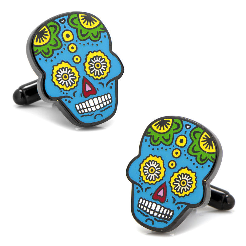 Blue Sugar Skull Cufflinks