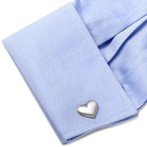 Brushed Silver Heart Cufflinks